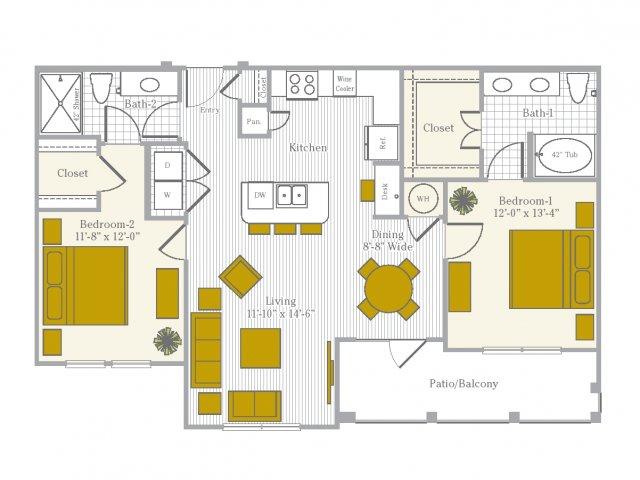 Floor Plan 6 | Flower Mound TX Apartments | Park Central at Flower Mound