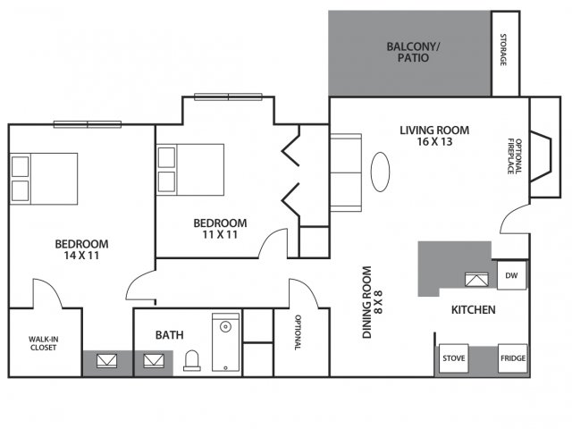 1 2 bed apartments hunt club austin for 11x11 room layout