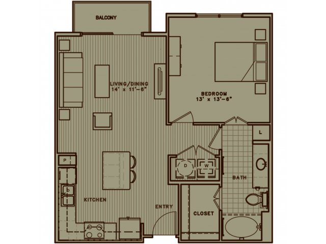 A3 one bedroom with open living room/dining room concept. Attache patio.