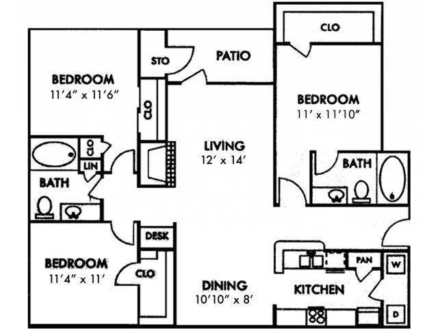 Escalante Apartment Homes, C1 Three Bedroom Floor Plan