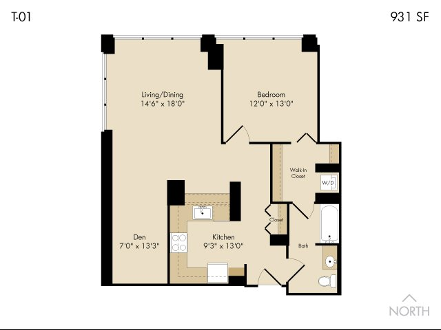 For The 1 Den Bath Floor Plan