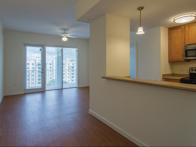 Open concept dining and living area with wood style flooring, ceiling fan and balcony door