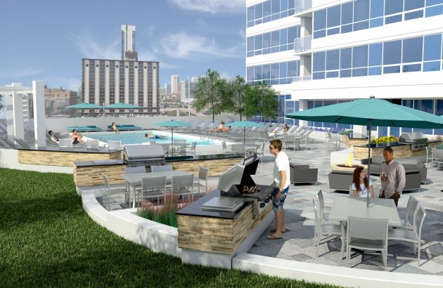 Residents Lounging by the Pool | Chicago IL Apartments For Rent | Arkadia Tower