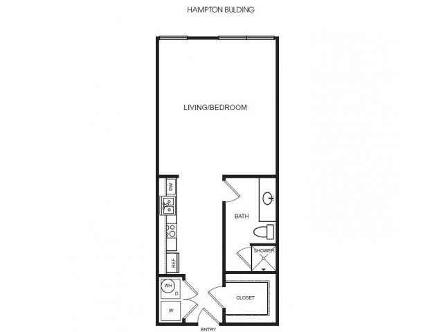 E2H studio, one bath with closet and w/d
