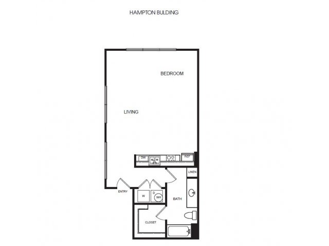 E5H studio, one bedroom with large closet and w/d