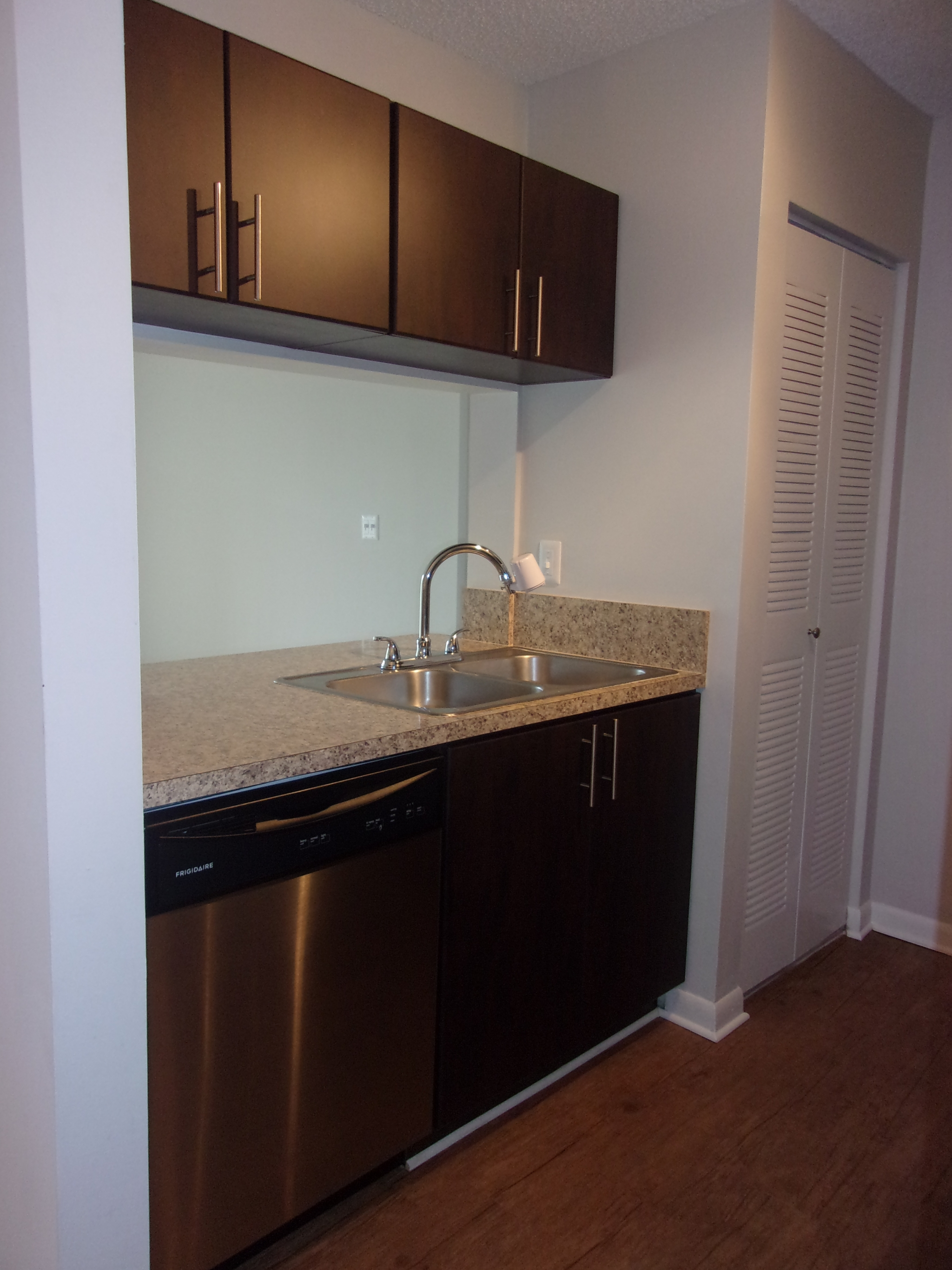 Compact kitchen counter with large stainless steel sink, overhead cabinets, and dishwasher next to double-door pantry