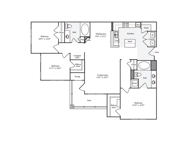 3 Bedroom Floor Plan | Anderson at Clairmont