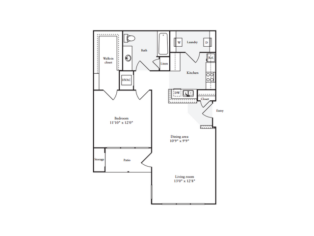 1 Bedroom Floor Plan | Anderson at Clairmont