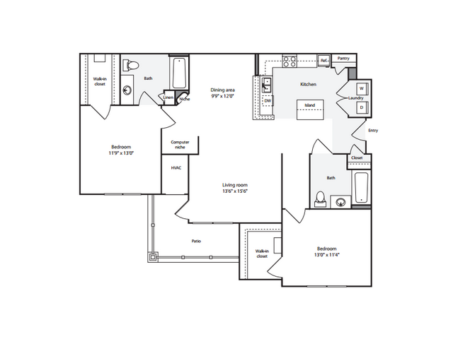 2 Bedroom Floor Plan | Anderson at Clairmont