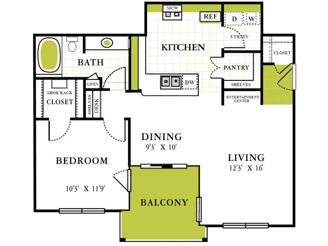 One Bedroom Floorplan | Grapevine Twenty Four 99