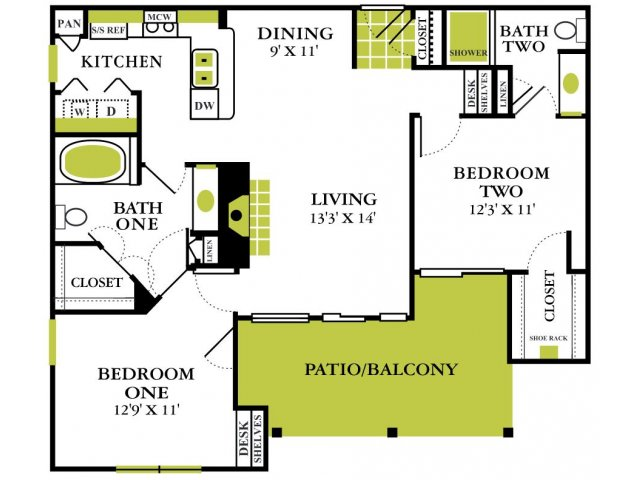 Two Bedroom Floorplan | Grapevine Twenty Four 99