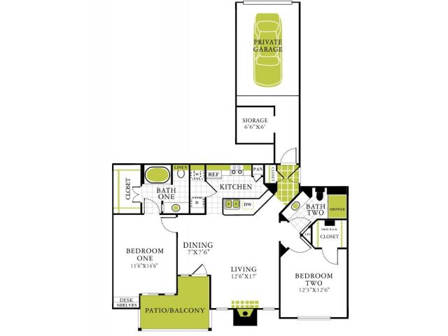 Two Bedroom Floorplan | Grapevine Twenty Four 99 1