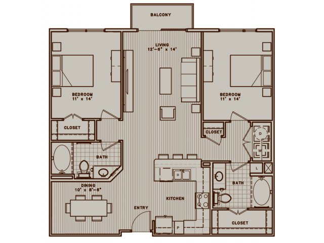B1H two bedroom, two bath with separate dining room and balcony