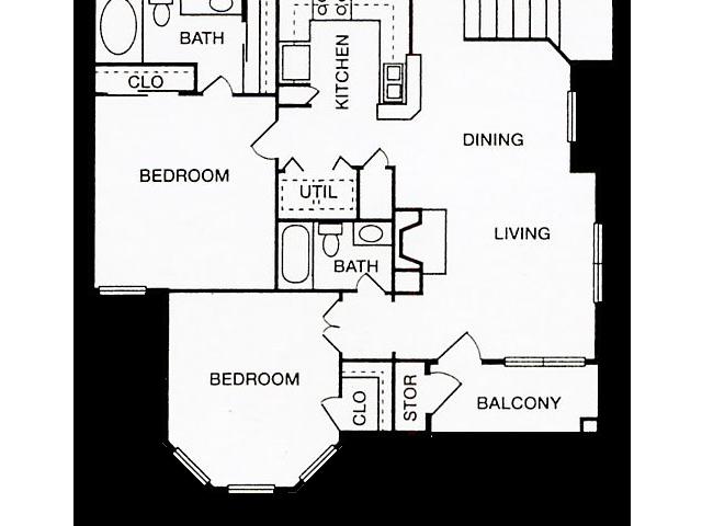 Two Bedroom Floorplan | Cherry Creek 7