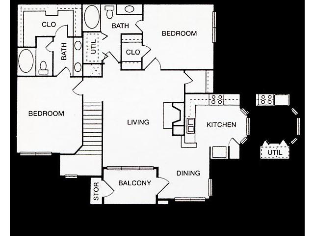 Two Bedroom Floorplan | Cherry Creek 8