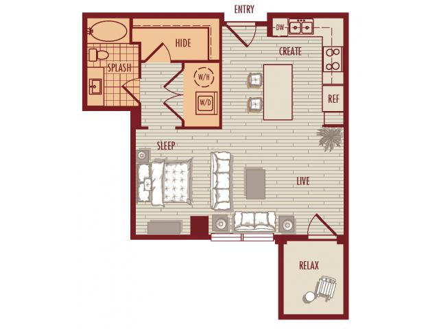 Studio layout. Large Balcony on Floors 2-4. Fireplace on level 4.