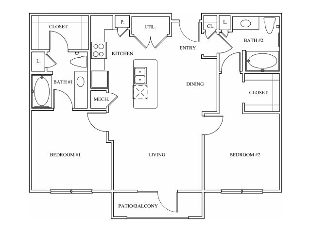 Keller Springs Crossing Two Bedroom Floorplan