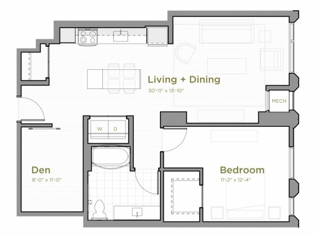 One Bedroom - A10 Floor Plan with an Alcove