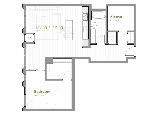 One Bedroom - A13 Floor Plan with an Alcove