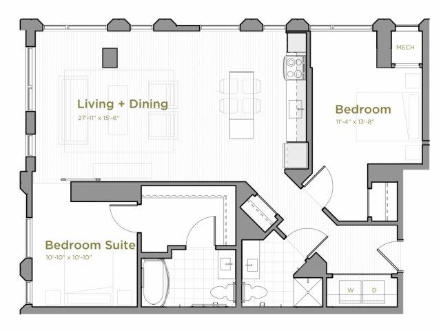 Two Bedroom - B01 Floor Plan, Northwest Corner
