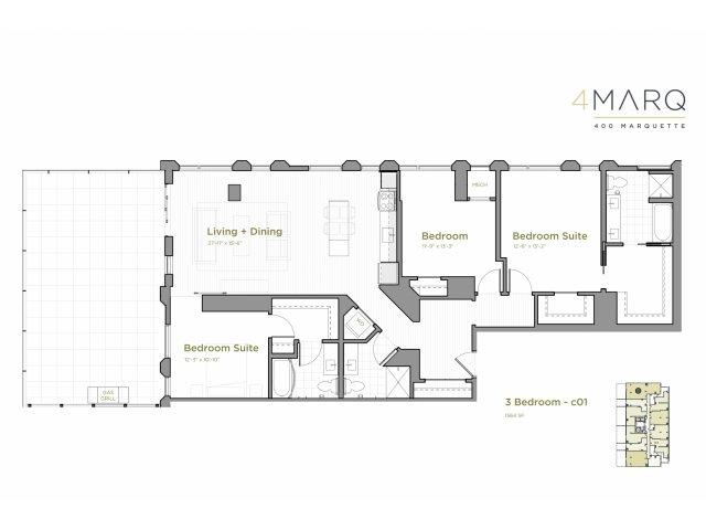 Three Bedroom - C01 Floor Plan with a Patio
