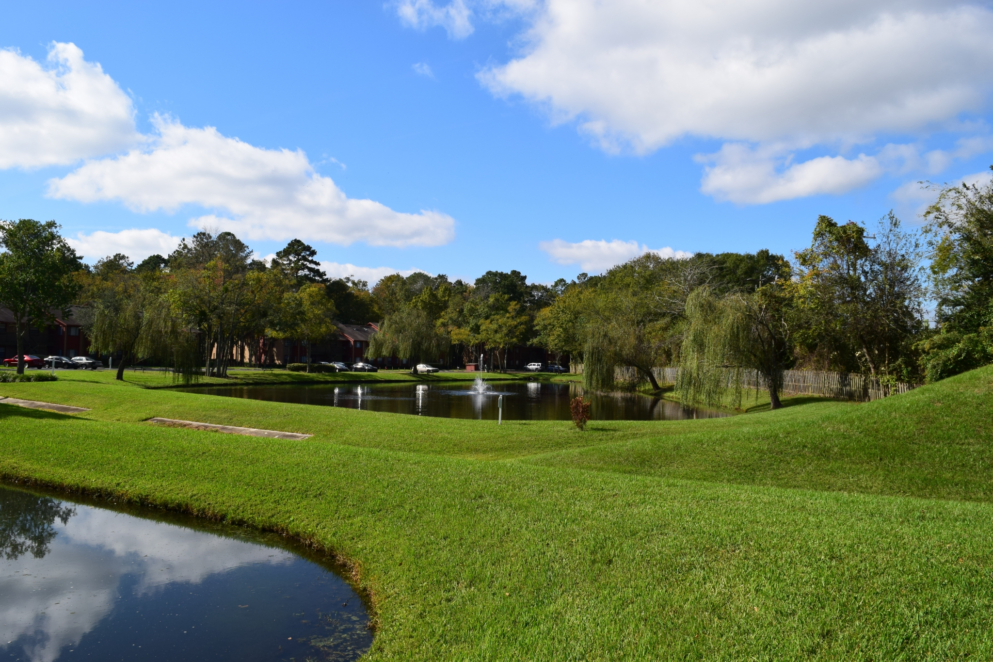 Deerfield Apartments rolling hills and lakes at the community