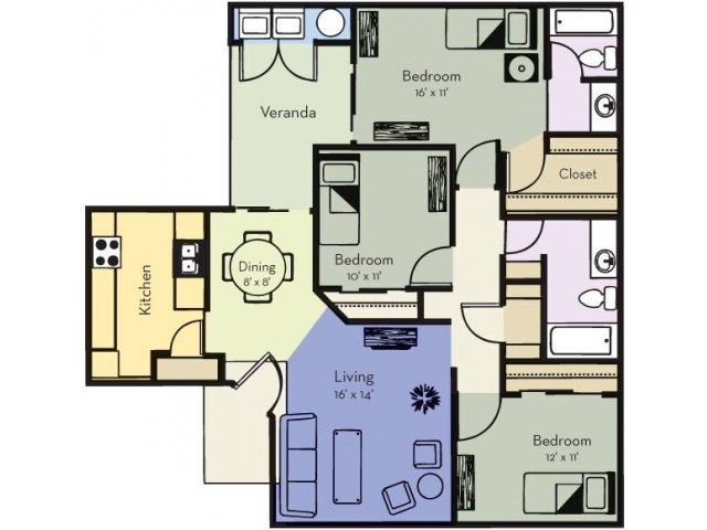 Three Bedroom, Two Bathroom