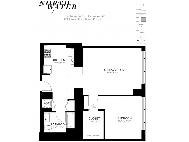 One Bedroom One Bathroom Floor Plan 1Q