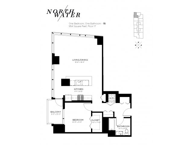 One Bedroom One Bathroom Floor Plan 1S