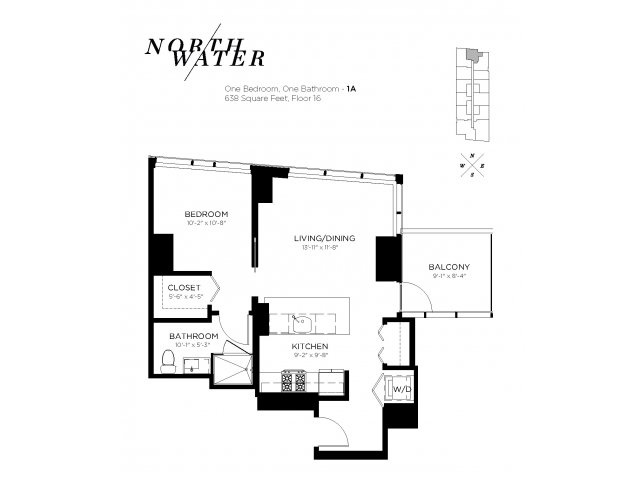 One Bedroom One Bathroom Floor Plan 1A