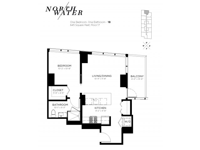 One Bedroom One Bathroom Floor Plan 1B