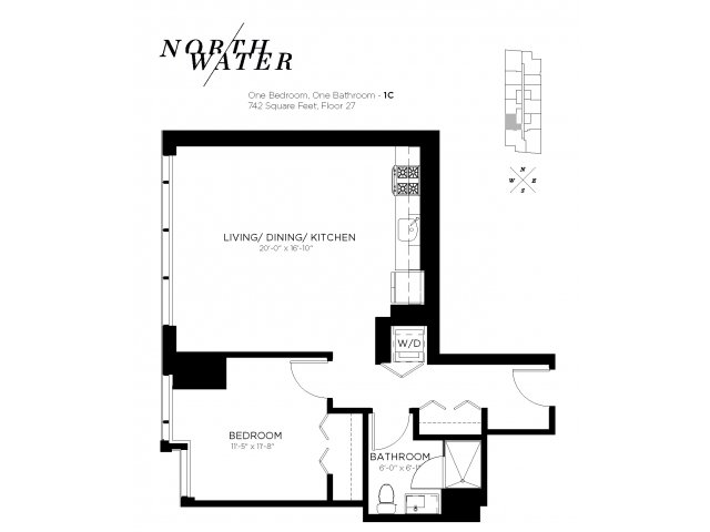 One Bedroom One Bathroom Floor Plan 1C