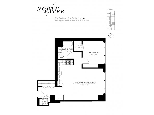 One Bedroom One Bathroom Floor Plan 1G