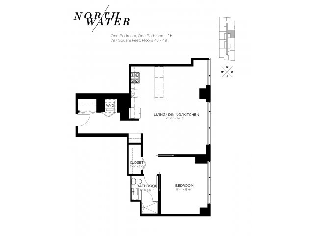 One Bedroom One Bathroom Floor Plan 1H Penthouse
