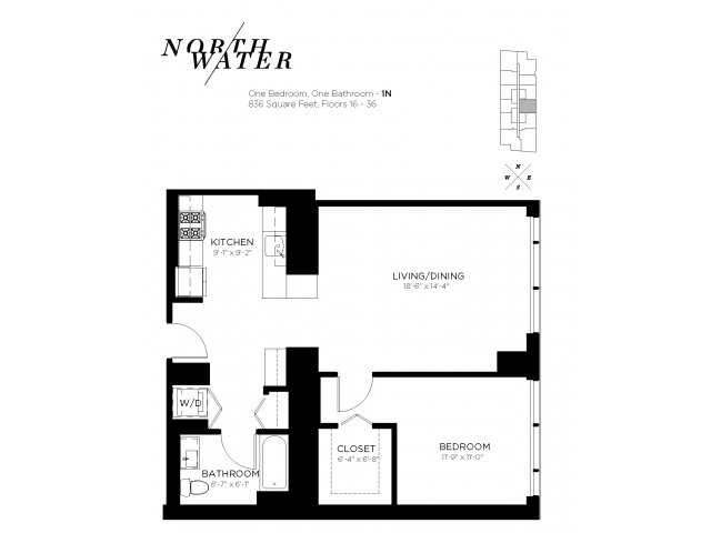One Bedroom One Bathroom Floor Plan 1N