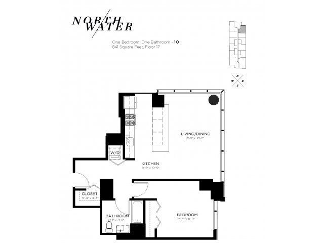 One Bedroom One Bathroom Floor Plan 1O