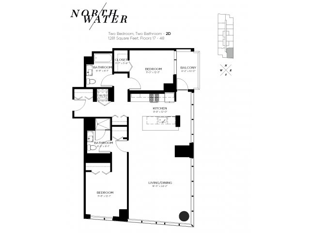 Two Bedroom Two Bathroom Floor Plan 2D