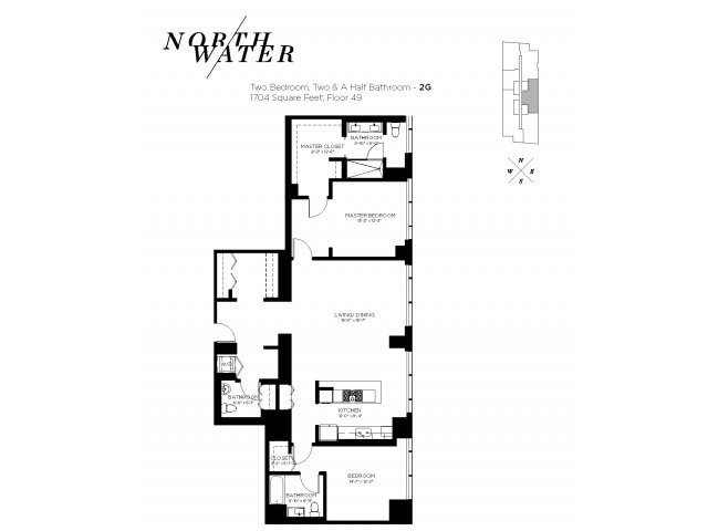 Two Bedroom 2.5 Bathroom Floor Plan 2G Penthouse