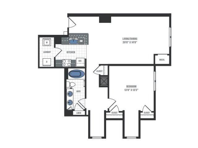 A5 - one bedroom one bathroom floor plan