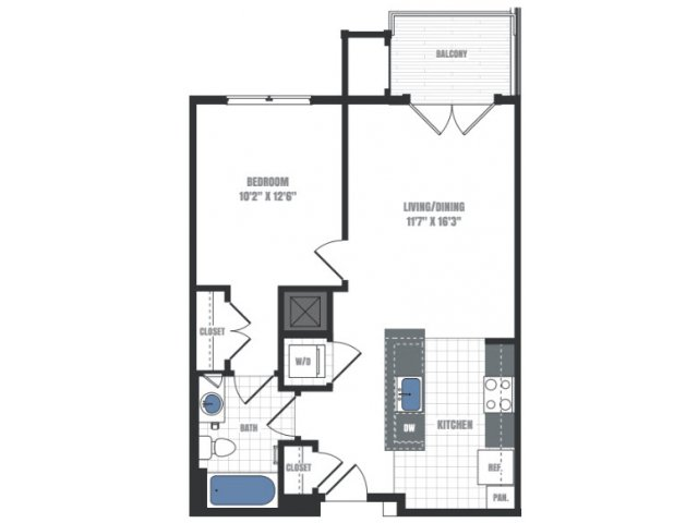 A6D - one bedroom one bathroom floor plan
