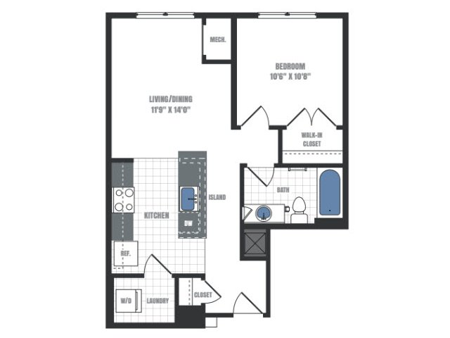 A7 - one bedroom one bathroom floor plan