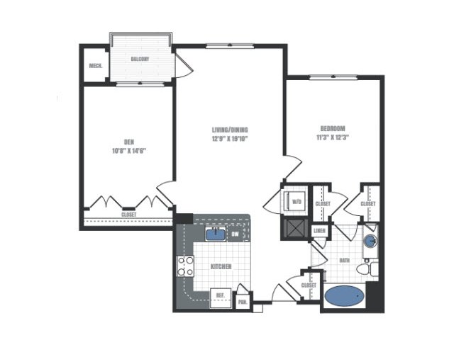 B1A - one bedroom one bathroom with den floor plan