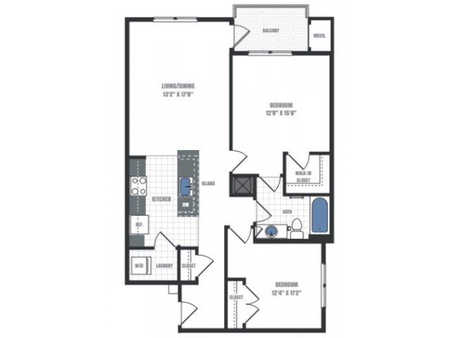 B3 - two bedroom one bathroom floor plan