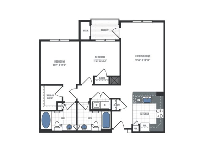 C1A - two bedroom two bathroom floor plan