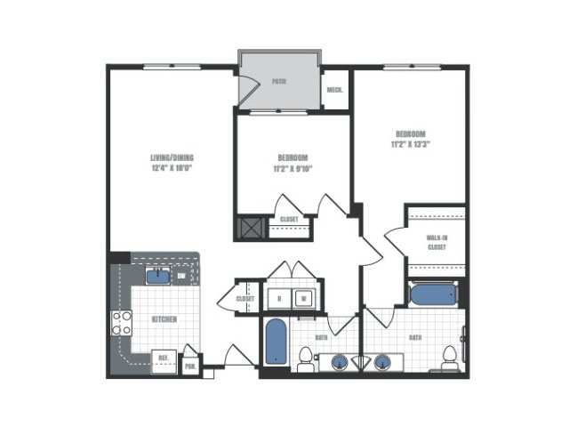 C2 - two bedroom two bathroom floor plan