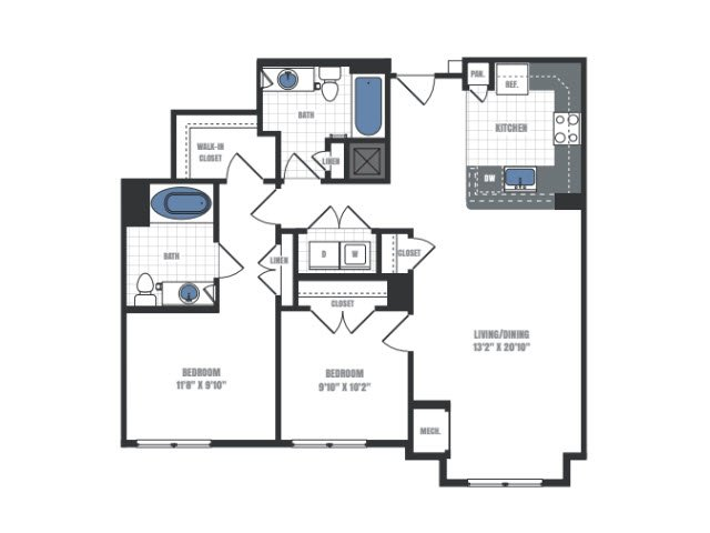 2 Bedroom Floor Plan 8 | Eastside Flats