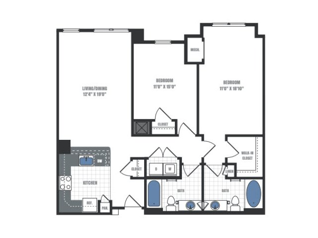 C6A - two bedroom two bathroom floor plan