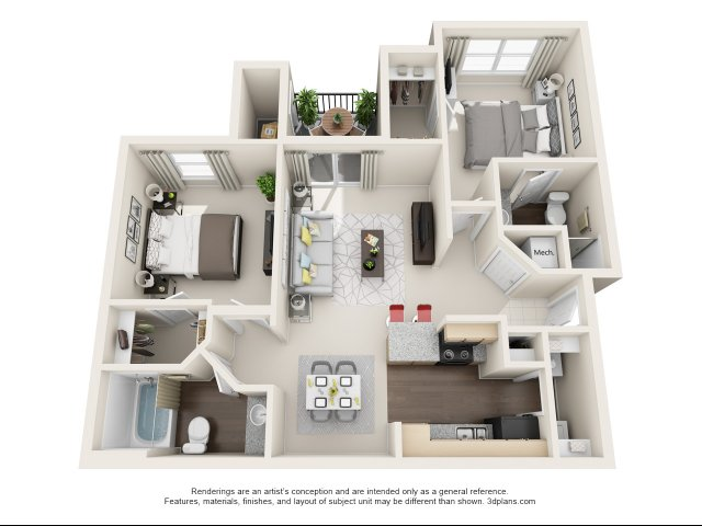 2 Bed 2 Bath Floor Plan B1