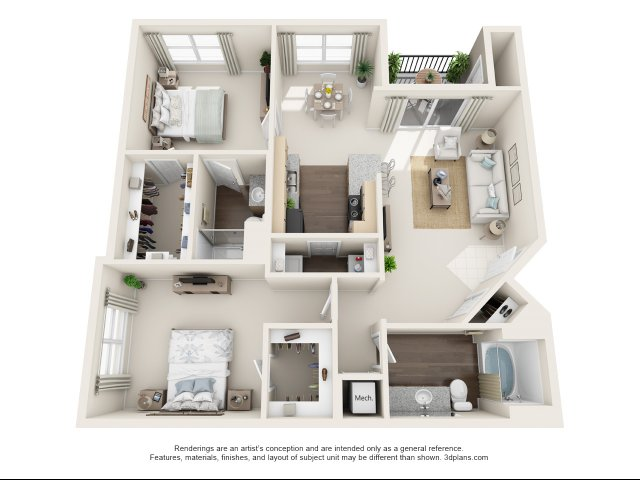 B2 - Two Bedroom - Two Bathroom 1156 Sqft