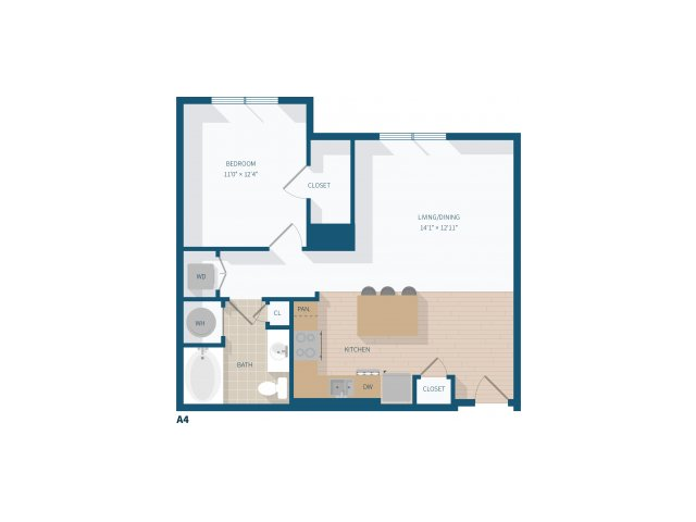 1 Bedroom -  A4 - 776 Square Feet